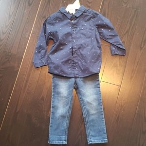 H&M 12-18 month suspender outfit